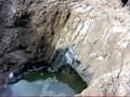 Stratificazione della terra blu a Marigliano nei pressi di un sito sequestrato
