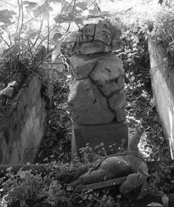 Quella che vedete qui sopra è l'ultima fotografia scattata alla statua del bimbo, che dominava una tomba del 1865, prima che maldestri ladri la distruggessero nel tentativo di portarla via dal cimitero dei colerosi. Si trovava sulla sepoltura di Felice Sarbato e, quando fu creata, emergeva da una vasca piena d'acqua che «proteggeva» la tomba.