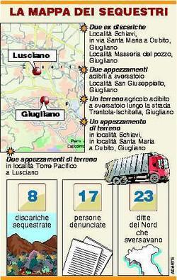 Mappa delle disariche sequestrate